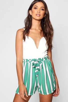 boohoo Paperbag Wide Stripe Short