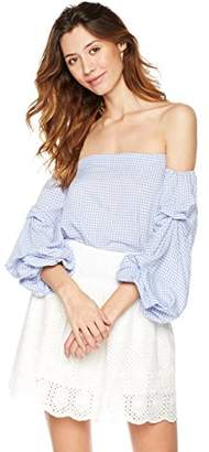 Plumberry Women's Summer Off shoulder Plaid Ruffle 3/4 Sleeve Blouse Shirts Tops L