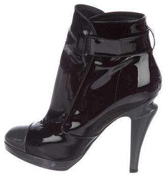 Chanel Cap-Toe Patent Leather Ankle Boots
