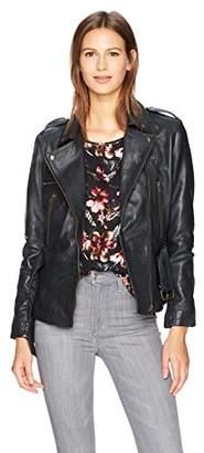 Nicole Miller Women's Sammi Lamb Leather Moto Jacket
