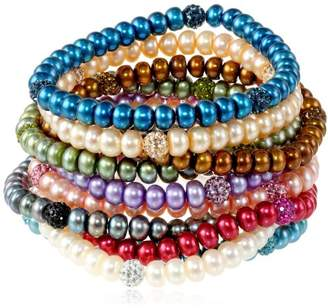 Honora Freshwater Cultured Pearl and Crystal Stretch Bracelet Set