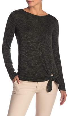 Max Studio Tie Hem Space Dyed Knit Sweater