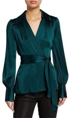 Elie Tahari Shay Long-Sleeve Silk Satin Wrap Blouse