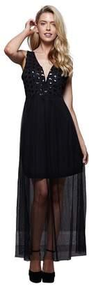 Yumi London - Black Lace 'Wren' Evening Maxi Dress