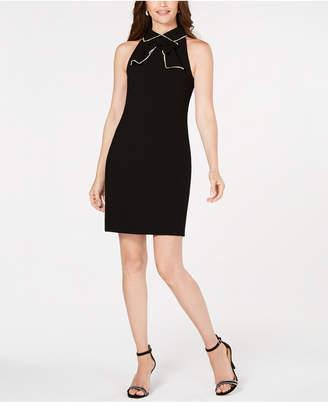 Trina Turk Rhinestone-Embellished Bow-Detail Sheath Dress
