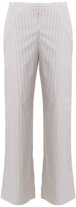 Three Graces London - Basilio Striped High Rise Cotton Pyjama Trousers - Womens - Black Stripe