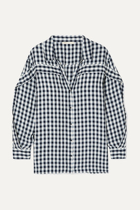 Maje Ruffled Gingham Canvas Shirt - Black
