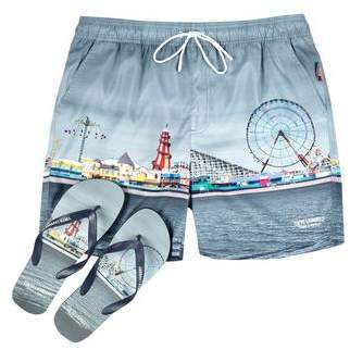Burton Mens Tokyo Laundry Mid Grey Swim Shorts and Flip Flops Set*