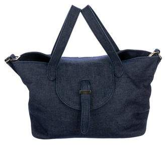 Meli-Melo Denim Flap Satchel