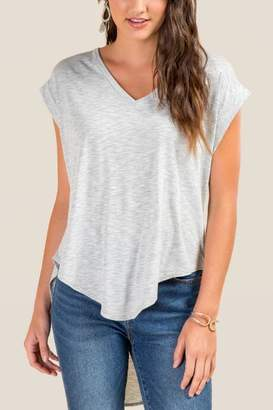 francesca's Katie Basic High-Low Top - Heather Gray