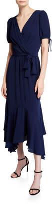Maggy London Puff-Sleeve Asymmetric Faux-Wrap Dress