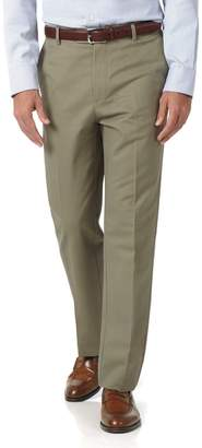 Charles Tyrwhitt Olive Classic Fit Flat Front Non-Iron Cotton Chino Pants Size W32 L32