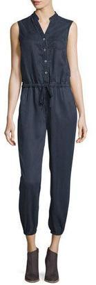 AG Frances Button-Front Cropped Jumpsuit, Navy $298 thestylecure.com