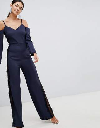 Asos Design Jumpsuit With Cold Shoulder And Lace Side Detail