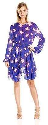Just Cavalli Women's Military Stars Print Flutter Skirt Dress