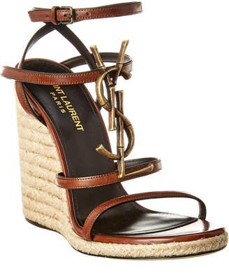 87d7124eb56 Saint Laurent Cassandra 110 Leather Espadrille Wedge Sandal