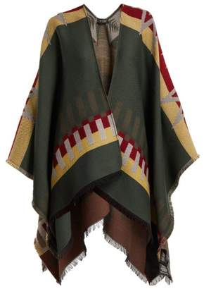Etro Stripe And Star Jacquard Wool Blend Cape - Womens - Green