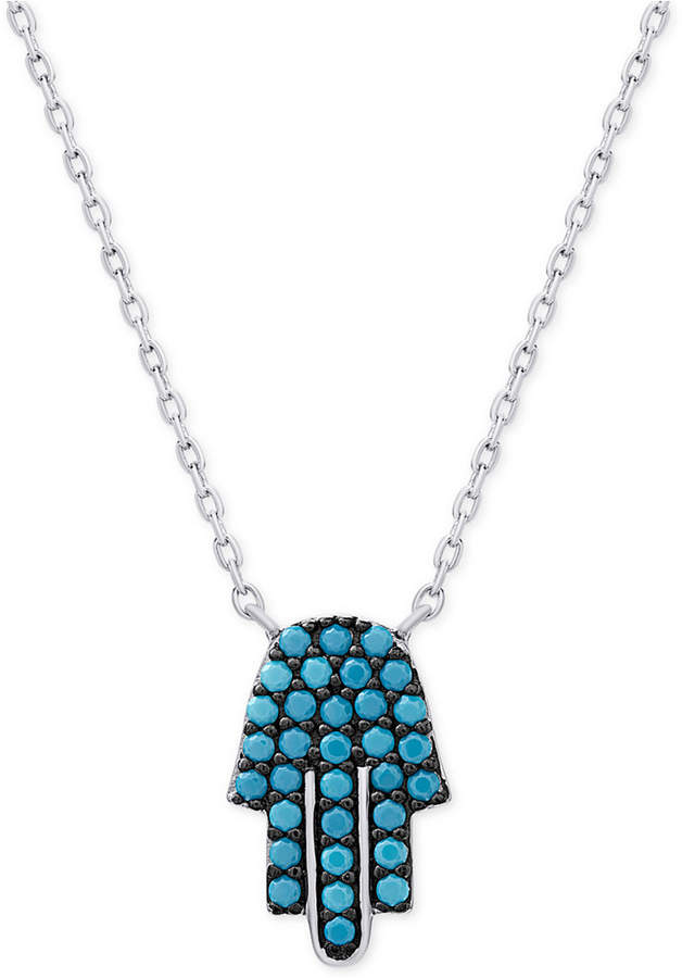 Macy's Manufactured Turquoise Hamsa Necklace in Sterling Silver