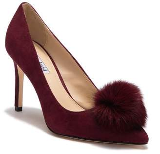 Charles David Duchess Suede Genuine Fox Fur Pompom Pump