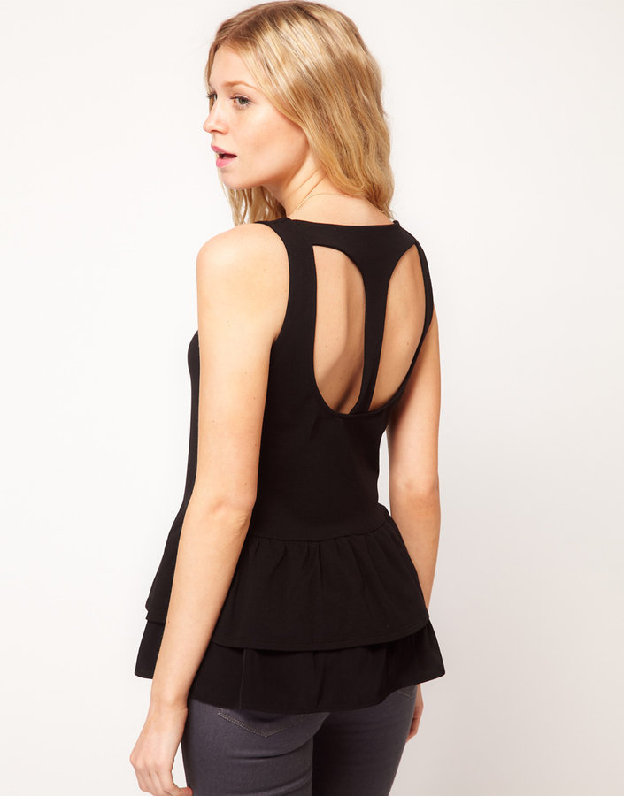 Asos Vest With Peplum And Cut Out Back Detail