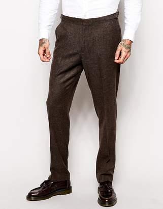 Asos Design Slim Pants In Herringbone