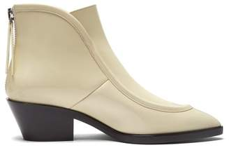 Jil Sander Pointed Toe Western Leather Ankle Boots - Womens - White