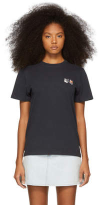 MAISON KITSUNÉ Grey Double Fox Patch T-Shirt