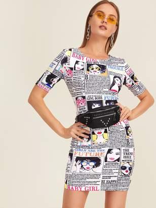 Shein Newspaper Print Bodycon Dress Without Bag