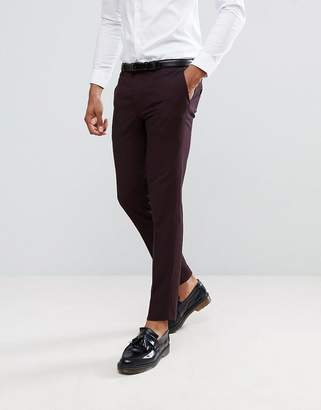 Burton Menswear Skinny Suit Pants in Dark Burgundy