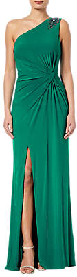 Adrianna Papell Jeweled One-Shoulder Draped Gown, Vivid Malachite