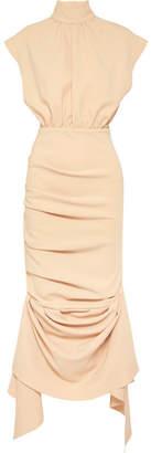 Awake Draped Crepe De Chine Midi Dress - Peach