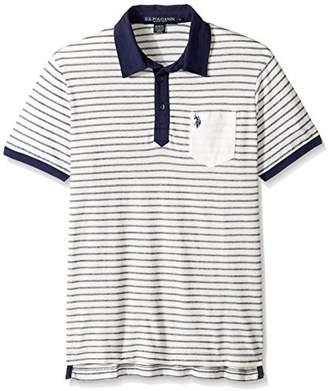 U.S. Polo Assn. Men's Slim Fit Striped Short Sleeve Pique Shirt