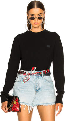Acne Studios Nalon Face Sweater in Black | FWRD