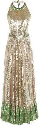 Temperley London Sycamore Halter Neck Sequin Gown