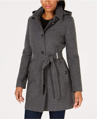Calvin Klein Petite Hooded Belted Coat