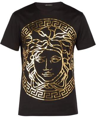 Versace Medusa Gold Print T Shirt - Mens - Black Gold