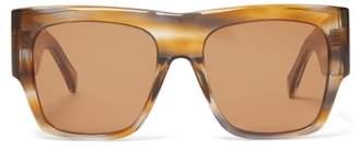 Celine Flat Top Acetate Sunglasses - Womens - Tortoiseshell