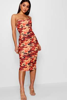 boohoo Rita Camo Square Neck Bodycon Midi Dress