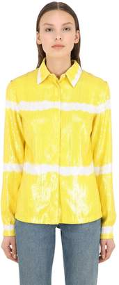 MSGM SEQUINED STRIPED SHIRT