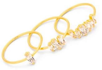 Gorjana Set of Three Amara 18K Goldplated Crystal Rings