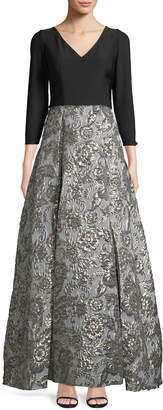 JS Collections Jersey Bodice Metallic Brocade Gown