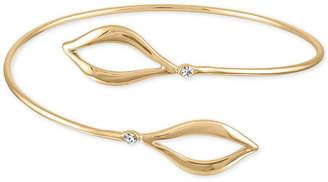 Rachel Roy Gold-Tone Pave Open Leaf Wrap Bangle Bracelet