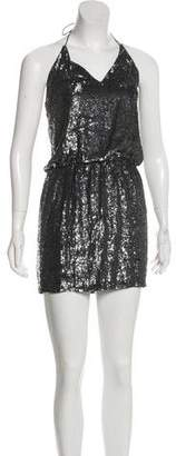 Haute Hippie Sequin-Accented Mini Halter Dress
