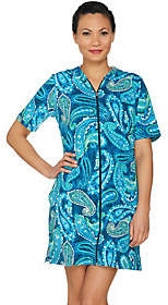 Denim & Co. Beach French Terry Zip Front CoverUp Dress