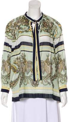 Gucci Printed Lace-Up Blouse