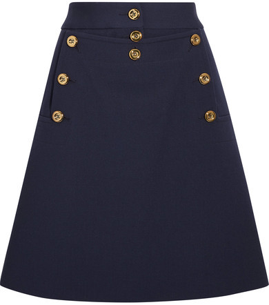Michael Kors Collection - Embellished Wool-crepe Mini Skirt - Navy
