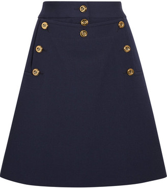 Michael Kors Collection - Embellished Wool-crepe Mini Skirt - Navy $1,195 thestylecure.com