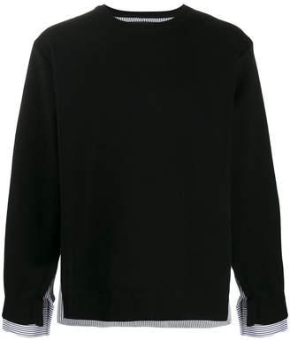 poplin-panelled jumper