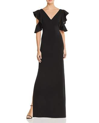 Laundry by Shelli Segal Ruffled Cold-Shoulder Gown