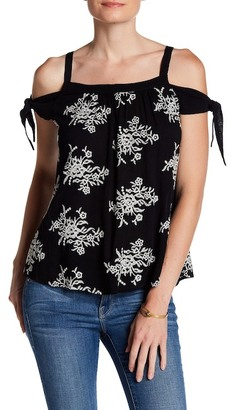 Bobeau Embroidered Woven Cold Shoulder Blouse $42 thestylecure.com